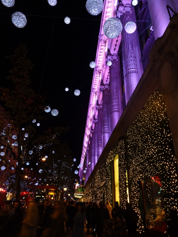 Spending Christmas in London, Christmas party ideas, Christmas shopping in London, Selfridges Oxford Street Christmas lights,